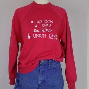 vintage red crewneck pullover sweatshirt graphic t
